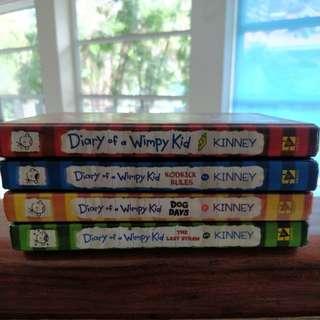 Diary Of A Wimpy Kid. Jeff Kinney. Books 1- 4. Hardbound