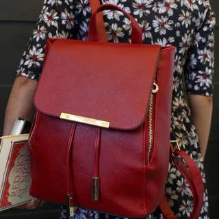 Saffiano Leather Backpack- Maroon