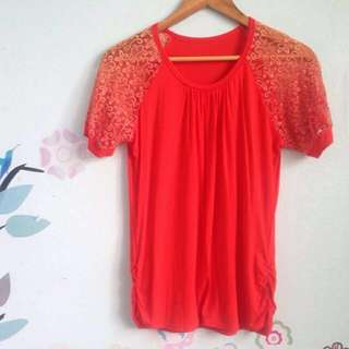orange blouse with lace
