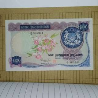 Singapore orchid $100 dollars SGD banknote