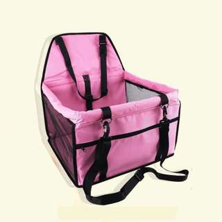 Portable Foldable Car Seat Cover Carrier with Seat Belt for Dog Cat (Pink)