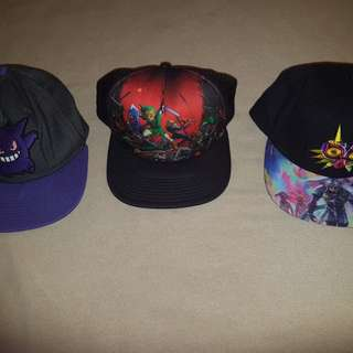 Three Snapback Hats (2 Zelda & 1 Pokemon)