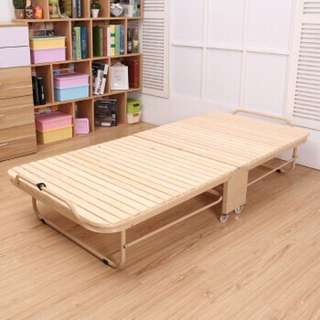 Foldable wooden bed frame with wheels (preorder)
