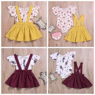 2 pcs Romper + skirt set