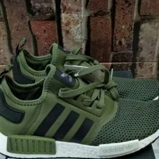ADIDAS NMD R1 MESH OLIVE GREEN UNAUTHORIZED AUTHENTIC (UA) BASF BOOST SIZE 40-45 STOCK TERBATAS
