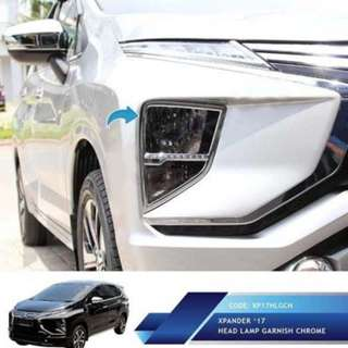 Mitsubishi Xpander Garnis Depan JSL  Head Lamp Garnish. Warna ; Silver Chrome. Berat : 2kg.