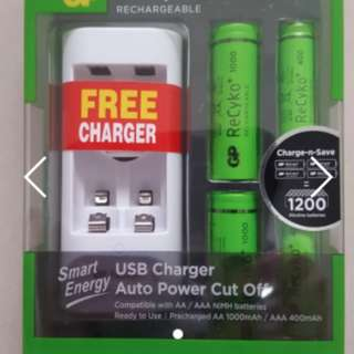 GP Reckyo Rechargeable AAA + AA battery Recharger