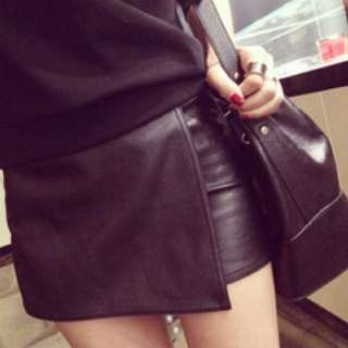 Origami Leather skirt/shorts