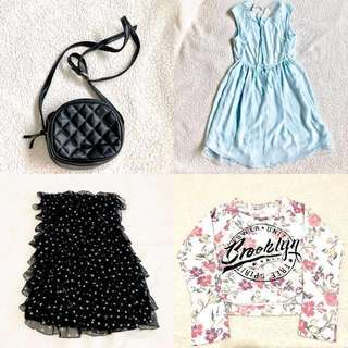 4 ITEMS BUNDLE (2 DRESSES, BERSHKA BAG AND FREE CROPPED SWEATER)