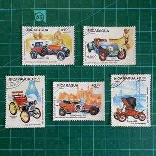[贈品]1984 尼加拉瓜共和國 古董汽車 舊票一套