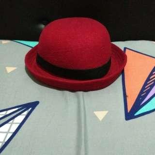 Bowler Hat / Topi Bowler / Topi Chaplin Merah Maroon