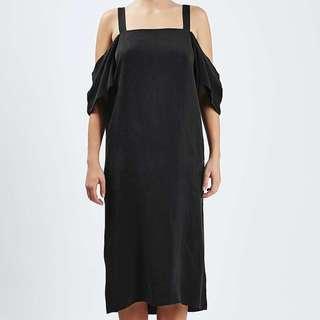 Topshop Boutique black silk off the shoulder dress