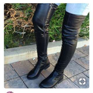 ZARA leather thigh high boots