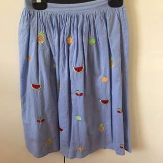 Cute fruit embroidered skirt