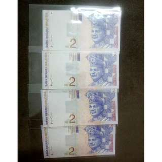 (BN 0043-1) 1996 Malaysia 2 Ringgit x 4, R/N - Ori UNC