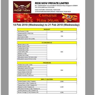 Car Rental Chinese New Year 2018 14-21 Feb 2018 (pplate welcome)