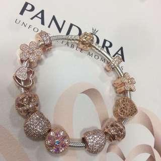 Authentic Pandora Bracelet Complete Charms