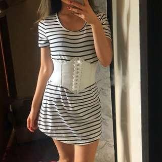 Black & White Curved Hem tshirt Dress S 6 8