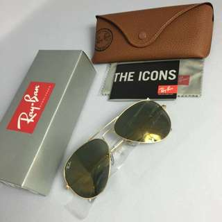 Authentic Rayban Aviator Luxottica Crystal Gold
