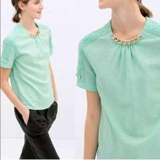 Zara mint green top