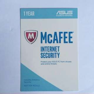 1 Year McAFEE Internet Security