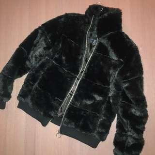 REDUCED Black Faux Fur Bomber Jacket