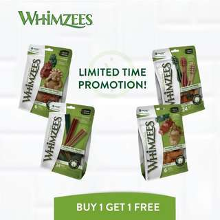 [LIMITED TIME PROMO] Whimzees Dental Treats for Dogs buy 1 free 1 !