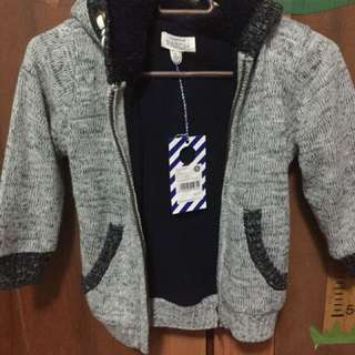 Winter hoodie cardigan with faux sheepskin