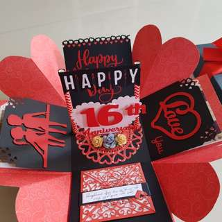 Valentine's Day and Anniversary Handmade Explosion Box Card
