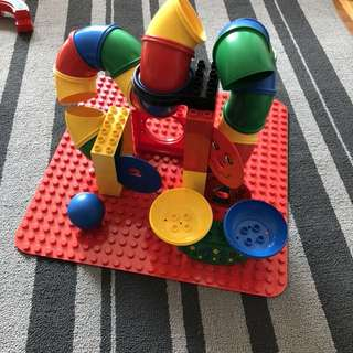 Lego duplo rolling ball and tube