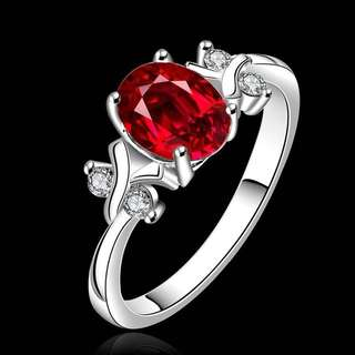 Red stone ring 925 silver