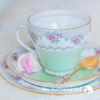 Sweet vintage pastel English bone china trio, pretty lace border and hand-coloured flowers