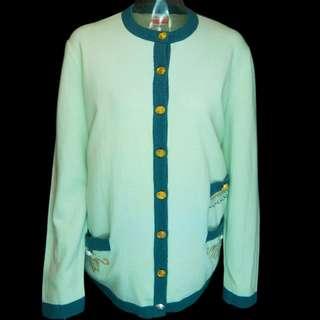 義大利品牌CARELLA純美麗諾羊毛海水藍長袖毛衣外套 義大利製 大碼