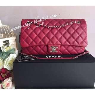 Chanel Large Easy Flap Bag-Dark Pink