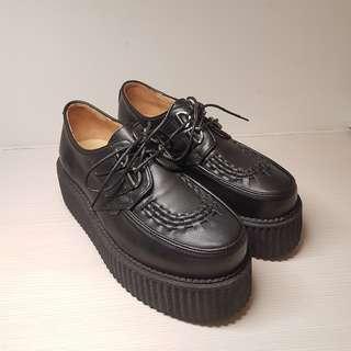 韓國真皮編織厚底鞋