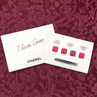 Chanel Rouge Coco Lipstick Samples with Lip Brush