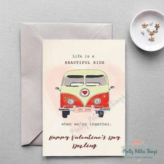 Retro Watercolor Valentine's Day Card