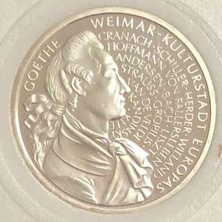 1999年德國紀念銀幣 直徑32.5 mm,重量 15.5 gram