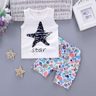 Boy Singlet Set - Star Design Soft