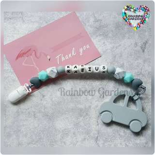 Handmade Pacifier Clip with customisation of name + Car Teether