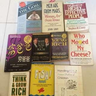 Various Books, self enrichment, self help.