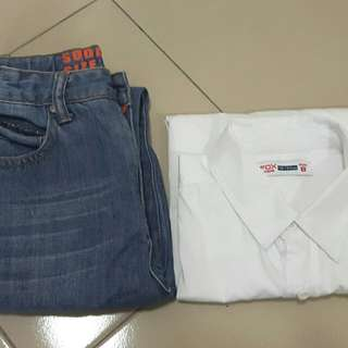 Jeans & shirt set for 8yo boy, preloved
