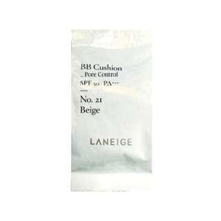 BRAND NEW LANIEGE BB CUSHION PORE CONTROL REFILL SPF 50 + PA +++ NO 21 BIEGE