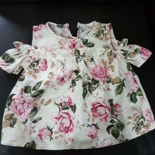 baby girl's flowery top for 0-3 months