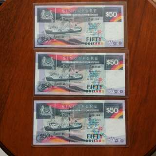 Sg Ship $50 fancy 8 Identical number lot of 3 pfx runs