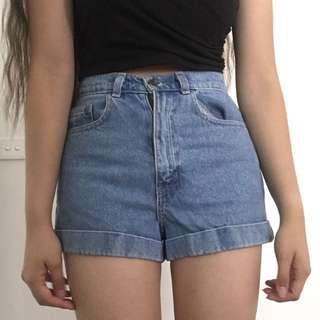American Apparel Blue High-Waisted Denim Shorts