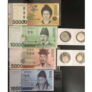KOREAN KRW Dollar Notes & Coin