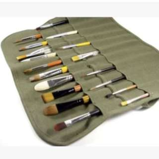bn army green make up brushes/art brushes roll up case