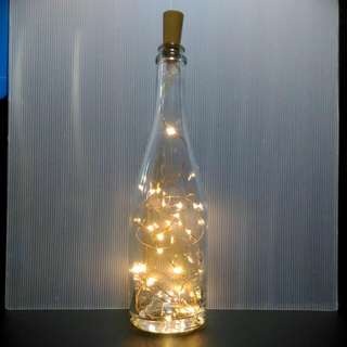 Tall+Sturdy Clear Glass Bottle with Warm White Fairy Lights