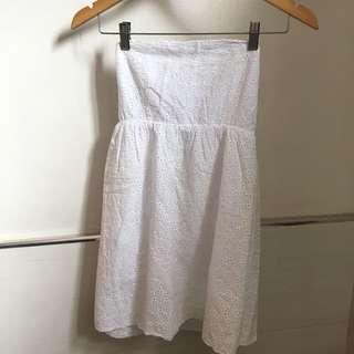 White Eyelet Babydoll Tube Dress
